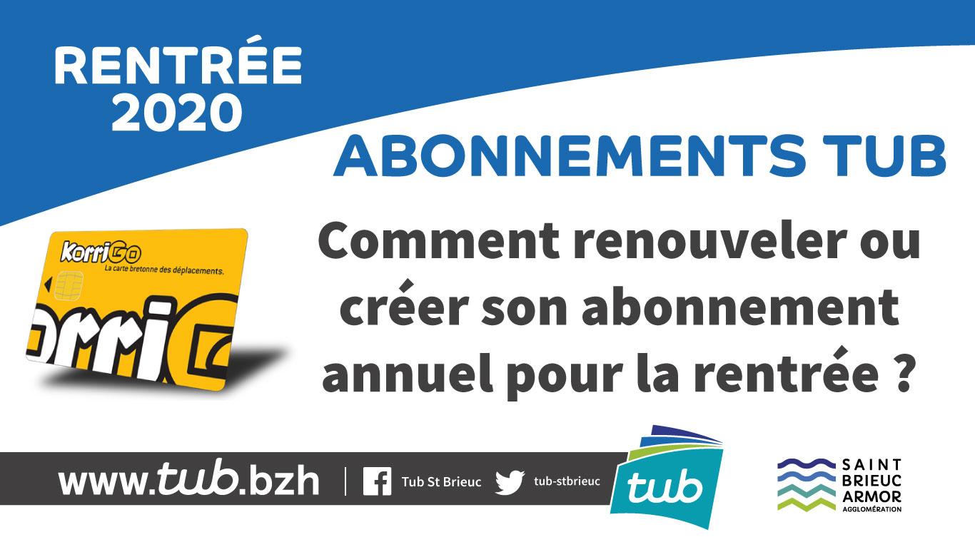 Rentrée 2020 : abonnements TUB